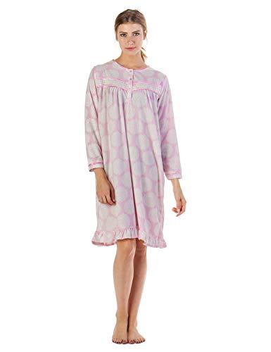 Casual Nights Womens Long Sleeve Printed Micro Fleece Nightgown - Medium, Floral/Blue