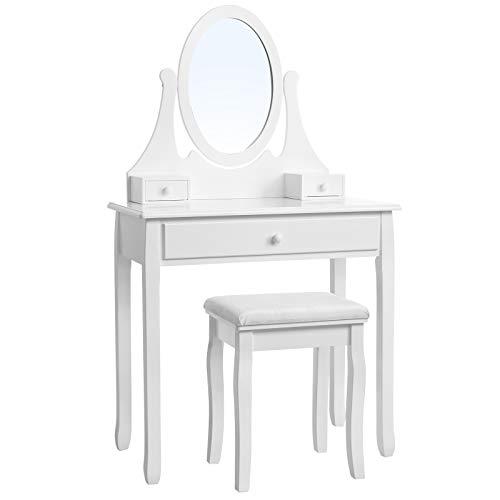 SONGMICS Schminktisch mit spiegel und hocker, Friertisch mit 3 schubladen, 137 x 80 x 40 cm, weiß RDT002