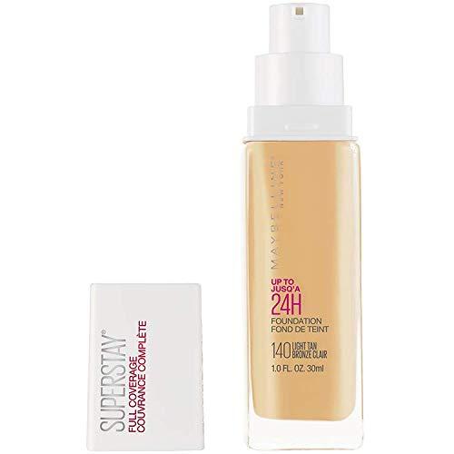 Maybelline New York Super Stay Full Coverage Liquid Foundation Makeup, 140 Light Tan, 1 Fl Oz