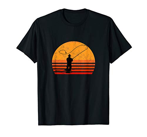 Fliegenfischen Sonne Vintage Angler Fischer Hobby Geschenk T-Shirt