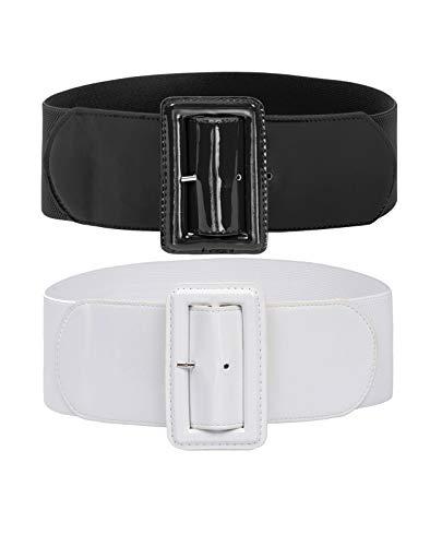 2 Pack Women Retro Elastic Stretchy Metal Buckle Waist Cinch Belt M Black+White