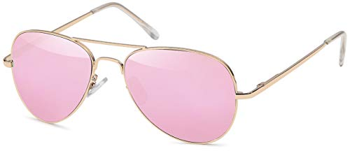 FEINZWIRN Pilotenbrille Sonnenbrille für das schmale Gesicht inkl Brillenbeutel (pink)
