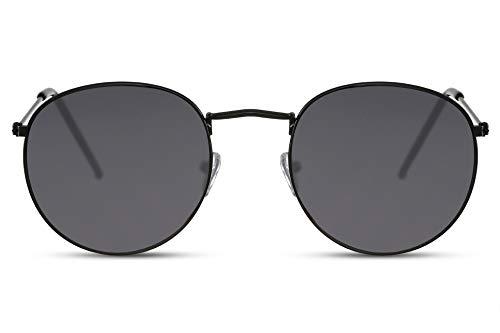 Cheapass Gafas de Sol Redondas Montura Negra con Cristales Negros UV400 Gafas Hombre Mujer
