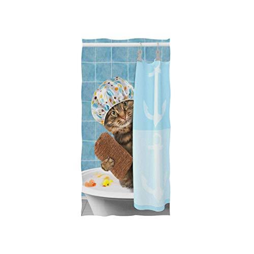 RTHGHG Toalla de baño de gato divertido con juguete de pato en la bañera, toalla de baño suave absorbente toallas de mano multiusos para baño, hotel, gimnasio y spa, 30 x 15 pulgadas