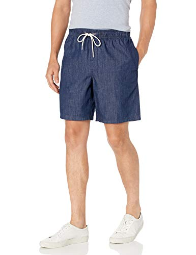 Amazon Essentials Herren flat-front-shorts Drawstring Walk Shorts, Dark Wash Chambray, Large