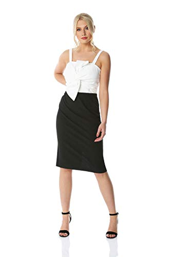 Roman Originals jurk met strik detail - Dames Middellange zwart-wit jurk voor formele gelegenheden, feesten, cocktails, bruiloften, lente, zomer