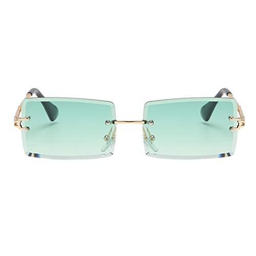 freneci Retro Rechteck Sonnenbrillen für Frauen & Männer, Randlose Sonnenbrille,Gradient Kleine Quadrat Gläser Randlose Getönt Objektiv Brillen UV400 - Grün