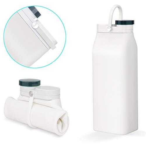 ANCES 折りたたみ水筒、600ml スポーツアウトドア折りたたみ式ポータブル水筒 - 携帯便利 超軽量 耐冷耐熱 無毒無臭 旅行 - シリコーン BPA FREE & PDA (白)