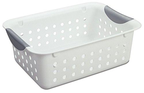 Sterilite 16228012 Ultra Basket with Titanium Inserts, White, 12-Pack, Small