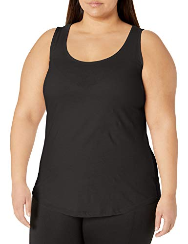 Just My Size Women's Shirt-Tail Tank Top, Black, 5X