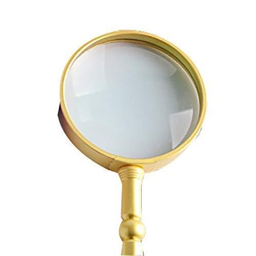 Yeeseu Vidrio Vidrio - Día de la lupa de alta definición de alta magnificación mango de metal marco óptico de la lente de mano ampliada Espejo-Lámparas no viejo periódico de la lectura de la madre del