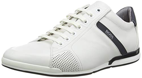 BOSS Herren Saturn_Lowp_Lux4 Sneaker, Weiß (White 100), 43 EU