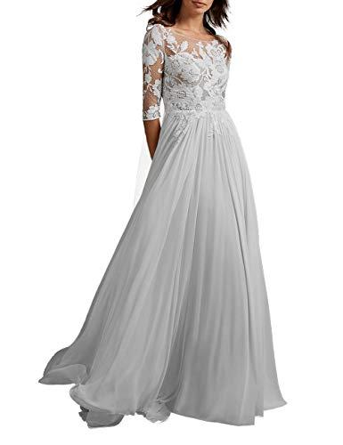 HUINI Vintage Brautkleid Hochzeitskleid Lang Chiffon Prinzessin Standesamtkleid Brautmode mit Ärmel Weiß 44