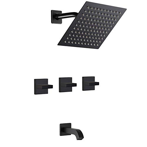 Matte Black 3 Handle Shower Faucet Set with Tub Spout, Tub and Shower Trim Kit with Rough-in Valve, Bathroom Rain Mixer Shower System Wall Mounted Rainfall Bathtub Shower Faucets