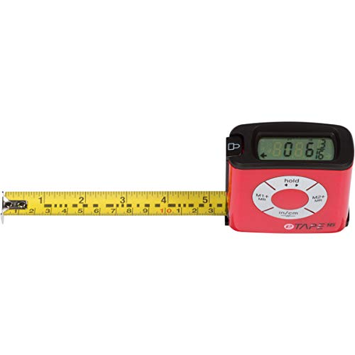 eTape16 Digital Electronic Tape Measure – For Accurate Measuring – Time-Saving Construction Tool – Red Polycarbonate Plastic– 3 Memory Functions – 16 Feet