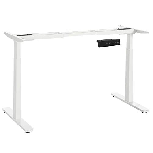 SONGMICS Tischgestell, Schreibtischgestell, elektrischer Schreibtisch, Tischständer mit Doppelmotor, stufenlose Höhenverstellung, mit Speicherfunktion, Stahl, weiß, LSD14WT