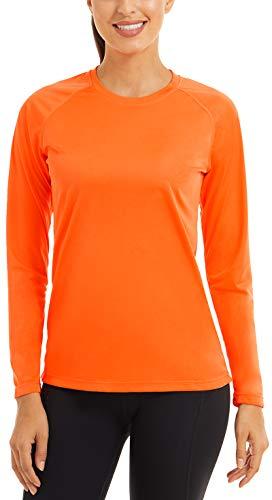 FASKUNOIE - Camiseta de manga larga para mujer SPF 50+, secado rápido, para verano Naranja Naranja 161eu XL