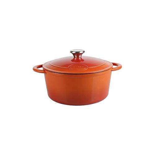 Sitram COCOTTE en Fonte d'acier EMAILLE, Acier, Orange et Blanc, 5L