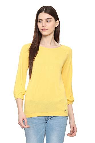 Allen Solly Women's Regular fit T-Shirt (AHFTMRGFI37225_Yellow X-Large)