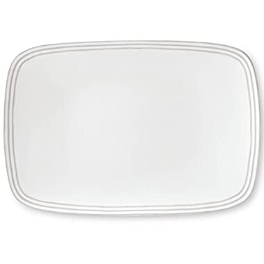 kate spade new york Charlotte Street Dinnerware Grey 15.75  Oblong Serving Platter, Grey and White Porcelain