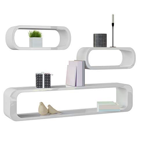 Deuba Wandregal Wandboard 3er Set Weiß Hochglanz Cube Design 95/40 / 40 cm Schweberegal Kinderzimmr Wand Regal Holz