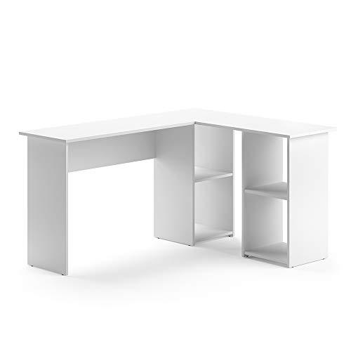 Vicco Eckschreibtisch Carlo Weiß Computer Bürotisch PC Schreibtisch Arbeitstisch