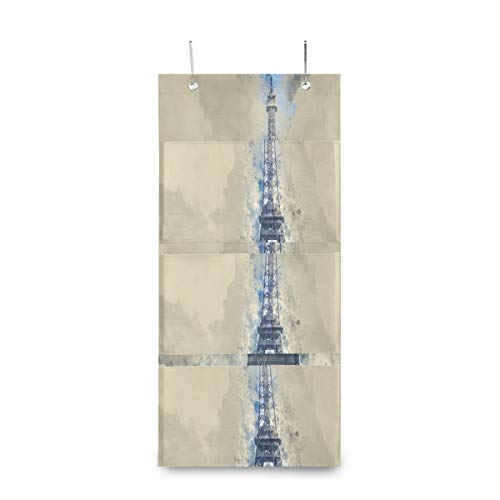 4 Grids Wall Hanging Storage bags,Beautiful And Amazing Eiffel Tower Storage Bag Over The DoorBag with 2 Easy Access Durable Metal Hooks,Space Saver Bags SuiTable for Living Room, Bedroom, Etc