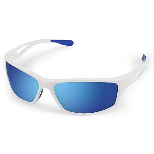 CHEREEKI - Gafas de sol deportivas, polarizadas con protección UV400 y montura irrompible TR90, para hombres y mujeres, ciclismo, correr, pesca, golf, conducción, (color negro), Unisex, ., blanco