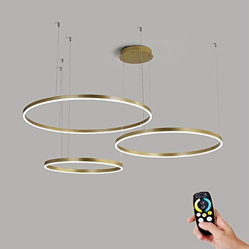 65W Pendelleuchte Kronleuchter Wohnzimmer Dimmbar mit Fernbedienung LED Modern Kreativ Pendellampe Ring Rund 3-flammig Gold Aluminium Acryl Deckenleuchte Esszimmer Hängelampe Schlafzimmer, 30/40/60cm