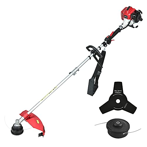"""PowerSmart String Trimmer, 2 Stroke Gas Powered String Trimmer, Cordless String Trimmer, Power Trimmer with 10"""" Brush Cutter Blade, String Line Included, PS4532A"""