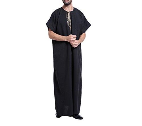 zhbotaolang Sommer Männer Kurzarm Nahen Osten Robe, Lässige Muslimischen Islamischen Arabischen Männlichen Hemd,Schwarz,L