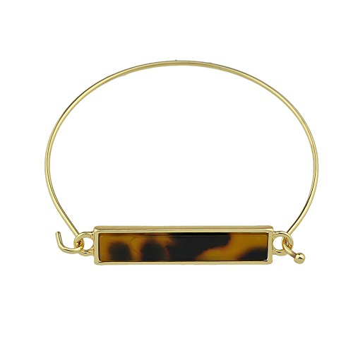 Feelontop® Bohemian Style Goldton Farbiger Steinquadrat Geometrisches Muster Offener Armreif mit Schmuckbeutel (Leopard)