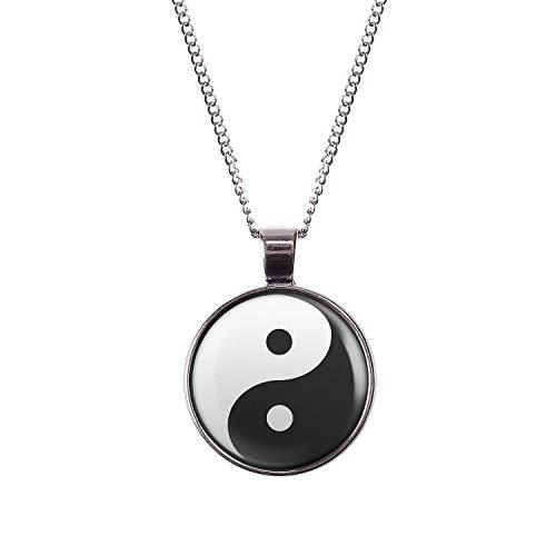 Mylery Hals-Kette mit Motiv Yin Yang Schwarz Weiß Taiji Silber 28mm