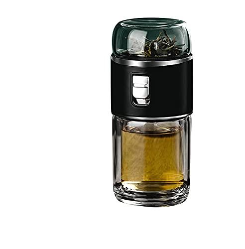 Tazas de separación de té y agua para hacer té, tazas de vidrio de doble capa portátiles, tazas de agua transparentes para hombres, tazas de té creativas de aislamiento térmico