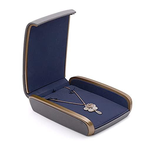 Joyero con tapa de vidrio Jewelry Box, Jewelry Box PU Caja De Cuero Caja Pendientes Caja De Anillo De La Joyería De La Moneda Funda Para La Propuesta, Compromiso Regalo De Boda (gris) Joyero de madera