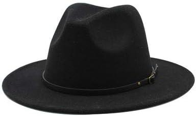 NC Women's Wide Brim Fedora Hat with Belt Buckle Felt Panama Hat