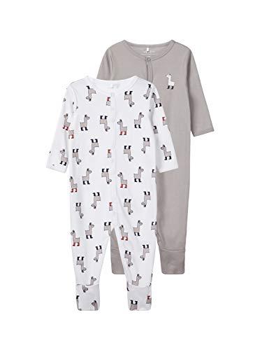 NAME IT Nbnnightsuit 2p W/f Noos Pijama, Multicolor (Weiß Bright White), 50 EU (Pack de 2)...