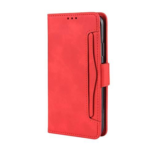 Magnetic Closure - Funda para iPhone 12 Pro Max, protección de 360 grados, resistente a los arañazos, piel sintética, con función atril, ranuras para tarjetas y bolsillo para iPhone 12 Pro Max (rojo)