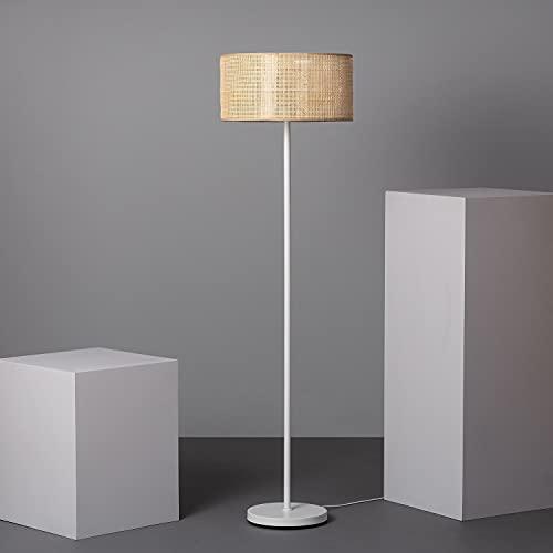 LEDKIA LIGHTING Lámpara de Pie Baracoa 1480xØ400 mm Blanco E27 Casquillo Gordo Ratán - Téxtil - Metal Decoración Salón, Habitación, Dormitorio