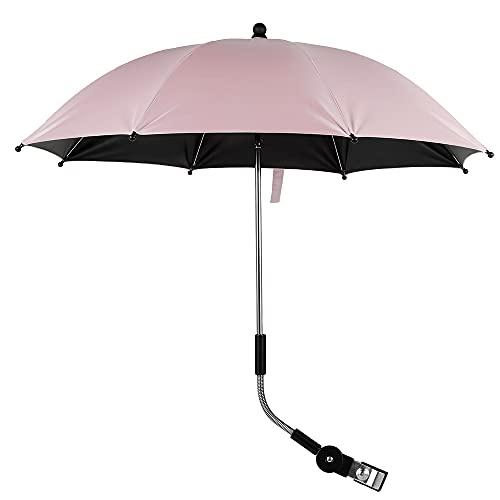 Pram Parasol Pink, Baby Pram Umbrella, Easy Open Wind-Resistant UV Protection Safety Baby Stroller Umbrella Rotatable Adjustable Fixture Compact-fold Sunshade Umbrella (Pink)