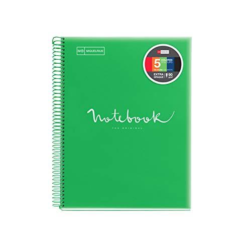 Miquelrius 1 - Cuaderno Espiral Microperforado, Cubierta Polipropileno Translúcido, Tamaño A4 210 x 297 mm, 4 Taladros, 120 Hojas de 90 g/m² y 5 Franjas de Color, Cuadrícula de 5 x 5 mm, color Verde