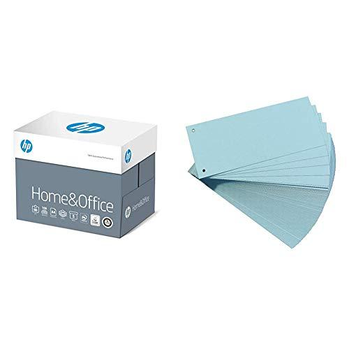 HP Kopierpapier CHP150 Home & Office, DIN-A4 80g, 2500 Blatt, Weiß & Original Falken 100er Pack Karton-Trennstreifen. 10,5 x 24 cm blau Trennlaschen Trennblätter Ordner Register Blauer Engel