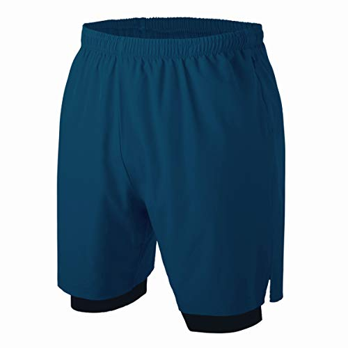 Herren 2 in 1 Sport Shorts Schnell Trocknend Sporthose Kurze Hosen mit Reißverschlusstaschen (Blau 3XL)