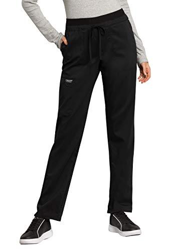 CHEROKEE Workwear Revolution Mid Rise Tapered Leg Drawstring Scrub Pant, XL Tall, Black