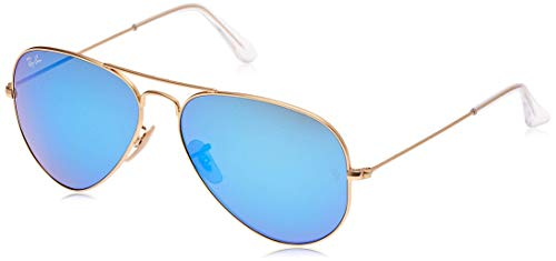 Ray-Ban Aviator Large Metal, Gafas de Sol Unisex Adulto, Dorado (Matte Gold & Cry Green Mirror Multi Blue Lens), 58