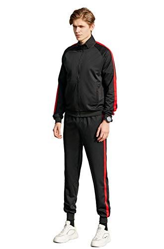 Allviper Sportbekleidungs-Set mit 3-teiligem Jogginganzug mit Reißverschluss für Herren rot M