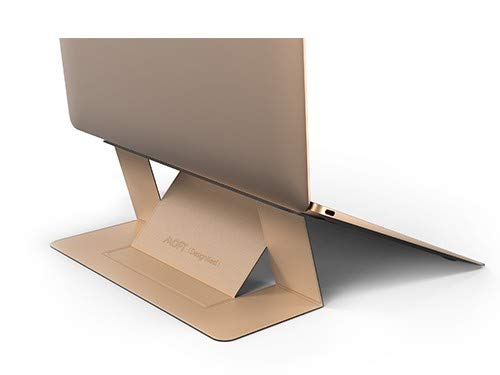 DesignNest Soporte para Laptop Invisible MOFT. Soporte Plegable de Altura Ajustable para computadora portátil para MacBook, Air, Pro, tabletas y computadoras portátiles de hasta 15.6 Pulgadas (Gold)