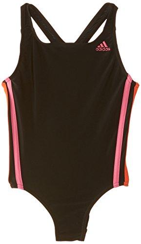adidas Mädchen Schwimmanzug Infinitex 3-Streifen 1Badeanzug, Mädchen, One-Piece Infinitex 3-Stripes, Black: DD-C/Semi Solar Pink/Semi Solar Red/Pink Buzz