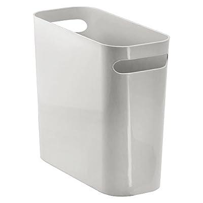 """InterDesign Una Wastebasket Trash Can 10"""", Light Gray"""