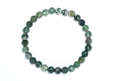 Taddart Minerals – Pulsera verde de piedra natural ágata musgo con bolas de 6 mm en hilo elástico de nailon – hecha a mano